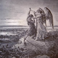 An engraving by the French printmaker Gustave Dore of Jacob Wrestling With the Angel, a scene from Dore's Bible.