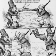 "A Chinese cartoon figure swallows two men in three sketches. The captions read, ""The Great Fear of the Period That Uncle Sam May Be Swallowed by Foreigners"", and ends with, ""The problem solved"". The cartoon is in response to the public's oppostion to Chinese immigration to the United States in the 1860s."