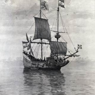 The explorer Henry Hudson's ship, Half Moon, in which he explored the Hudson River regions  in the 17th Century.