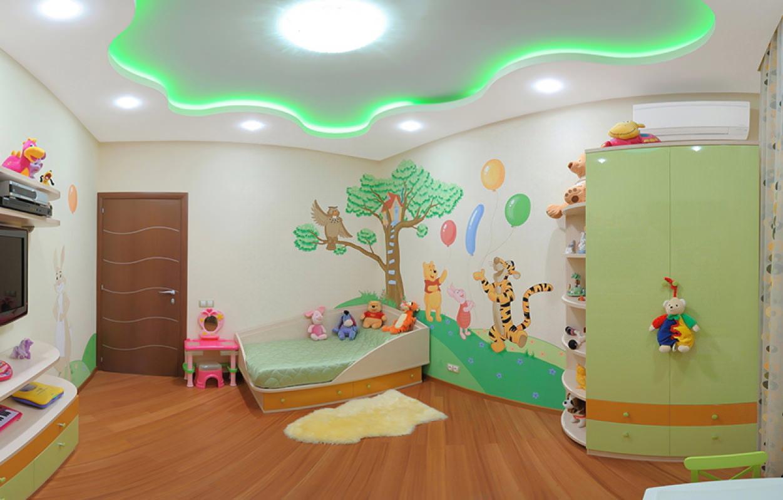 Двухуровневые натяжные потолки в детской